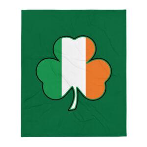 Ireland Cloverleaf Flag Throw Blanket